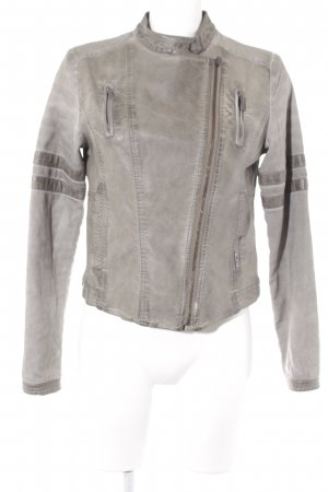 LTB Faux Leather Jacket grey-light brown distressed style