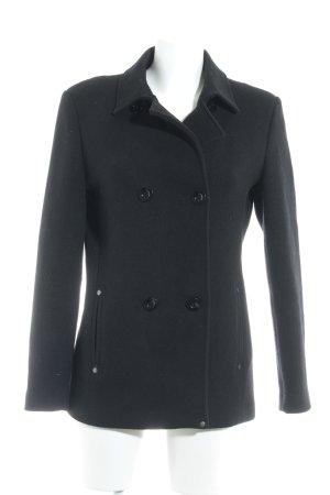 LTB Manteau court noir Motif de tissage style décontracté
