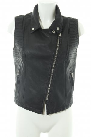 LTB Leather Vest black quilting pattern biker look