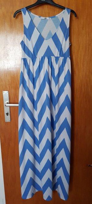 LTB Maxi Kleid Sommerkleid Blockstreifen Muster Blau-Weiß XS