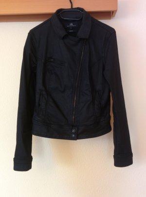 LTB schwarze Jeansjacke in Lederoptik mit schrägem Reisverschluss