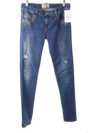LTB Skinny Jeans stahlblau-hellblau Metallelemente