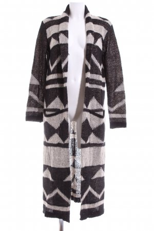 LTB Knitted Coat black-natural white graphic pattern casual look