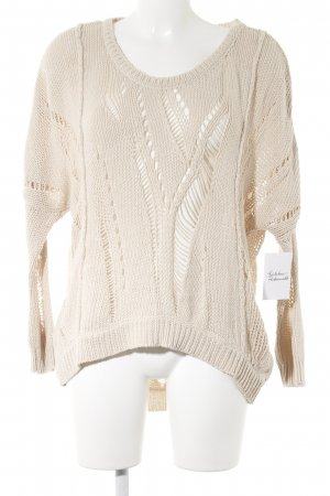 LTB Strickpullover creme Lochstrickmuster Casual-Look