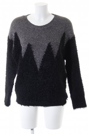 LTB Strickpullover schwarz-silberfarben Zackenmuster Casual-Look