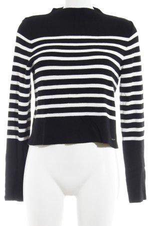 LTB Strickpullover schwarz-weiß Streifenmuster College-Look