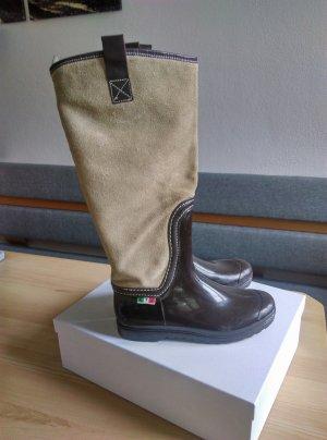 Botas de agua marrón oscuro-beige Gamuza