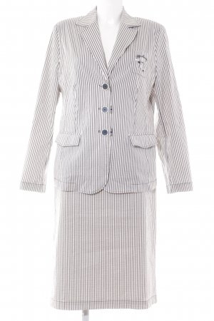 Lucia Kostüm wollweiß-graublau Streifenmuster Business-Look
