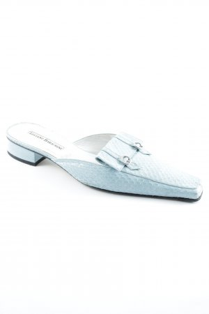 Luciano Barachini Slippers baby blue-silver-colored animal pattern animal print