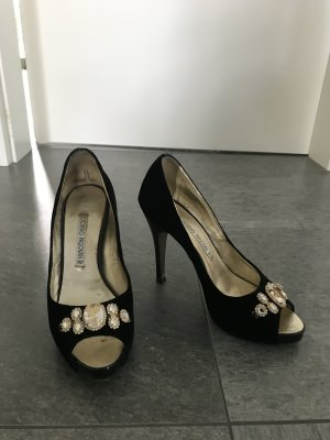LUCIANO PADOVAN Made in Italy Peep Toe Pumps Swarovski