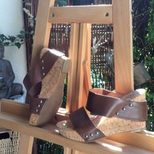 Heel Pantolettes brown leather