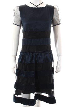 Luella A-Linien Kleid goldfarben-dunkelblau Streifenmuster Paris-Look