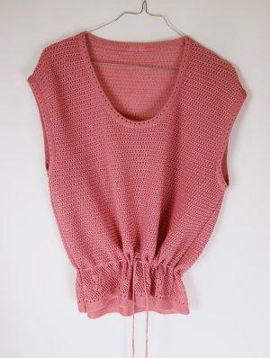 Luftig Ajour Häkeltop Shirt Top Gehäkelt Größe 36 38 Altrosa Rose Raffung Sommer
