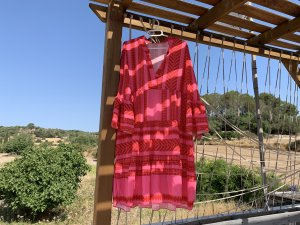 Robe Hippie rouge framboise-rouge brique