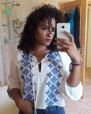 Flannel Shirt white-blue
