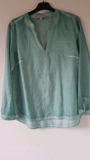 3e6e04e36b69 Luftige mintfarbene Tunika Bluse aus Seide/Baumwolle mit Pailletten Sommer  Boho