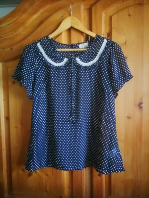 Camisa de mujer blanco-azul oscuro
