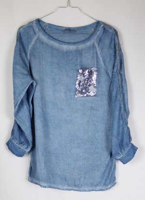 Luftige Tunika Bluse Pailetten New Collection Größe M 38 Blau Hellblau Aqua Viskose Washed Out Denim Look Rundhals T Shirt Made in Italy Batik Materialmix