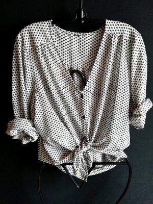 Luftige Vintage Bluse in schwarz weiß