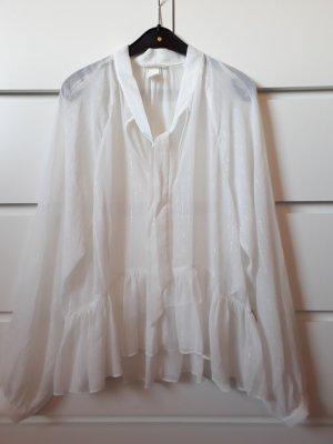 H&M Blouse à volants blanc-gris clair polyester