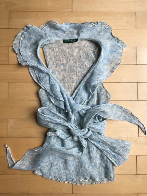 Lauren by Ralph Lauren Camicetta aderente azzurro-bianco Tessuto misto
