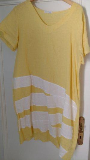 Luftiges bequemes Leinen Kleid gelb weiss für den Sommer Gr 40 von Made in Italy
