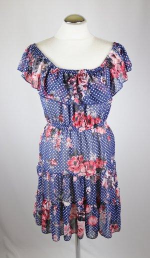 Luftiges Carmen Kleid Minikleid Amisu Größe XS 34 Blau Blumen Rot Weiß Punkte Rosen Rüschen Raffung