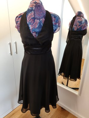 luftiges Cocktailkleid, neckholder, schwarz Gr 36