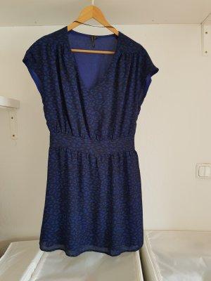 Mango collection Robe chiffon bleu-noir fibre synthétique