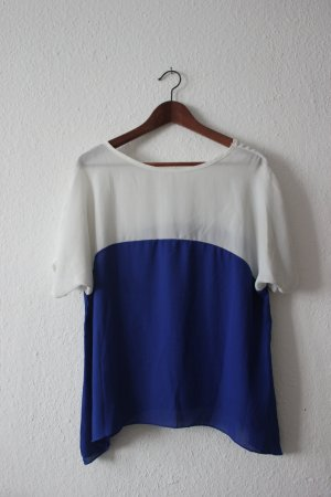 Vintage Oversized Shirt blue-white synthetic fibre
