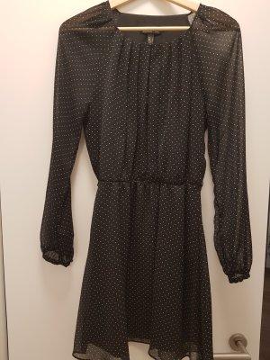 luftiges Pünktchenkleid in schwarz mit langem Ärmeln