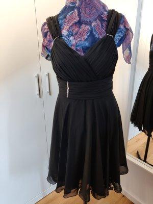 luftiges schwarzes Cocktailkleid, A-Linie, mit Steinchen