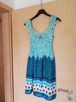 Vestido de manga corta azul claro-azul Poliéster