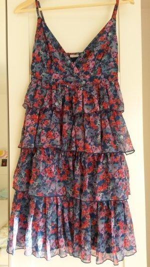 3 Suisses Vestido de chifón azul oscuro-rosa neón