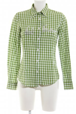 Luis Trenker Hemd-Bluse grün-weiß Karomuster Casual-Look