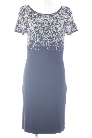 Luisa Cerano A-Linien Kleid hellbeige-dunkelblau abstraktes Muster Casual-Look