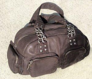 LUISA CERANO bag Tasche 32x18x10 braun echt Leder Vintage Ketten NP 179€