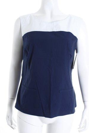 Luisa Cerano Blusentop weiß-blau Colourblocking schlichter Stil