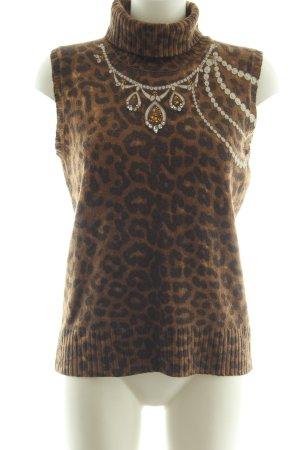Luisa Cerano Cárdigan de punto fino marrón-negro estilo extravagante