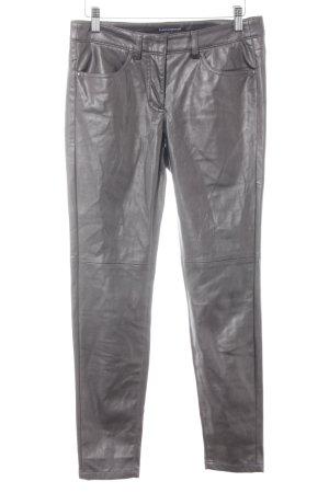 Luisa Cerano Pantalon taille haute argenté-gris Aspect métallique
