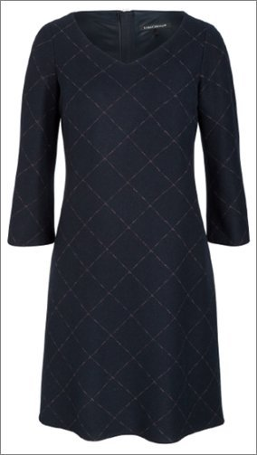 Luisa Cerano Vestido de lana azul oscuro-beige lana de esquila