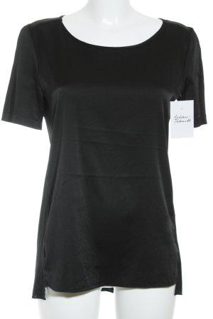 Luisa Cerano Kurzarm-Bluse schwarz Glanz-Optik