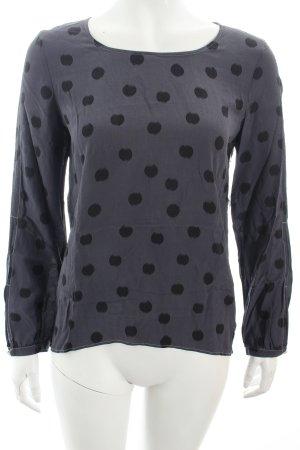 Luisa Cerano Langarm-Bluse grau-schwarz Punktemuster Boho-Look