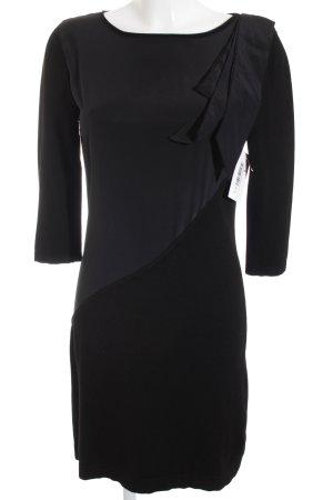 Luisa Cerano Langarmkleid schwarz abstrakter Druck schlichter Stil