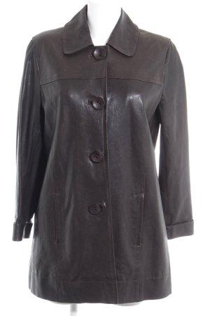 Luisa Cerano Veste en cuir noir style classique
