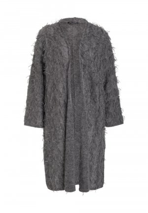 Luisa Cerano Long Strick Jacke Mantel Mohair Grau 40/42 M/L