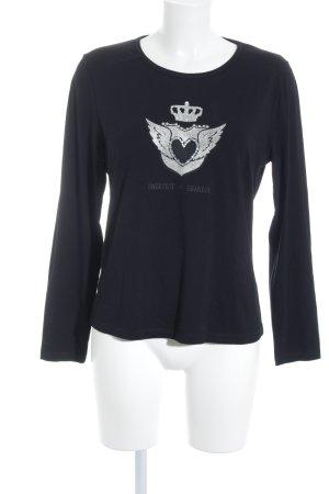 Luisa Cerano Print-Shirt schwarz-silberfarben Motivdruck schlichter Stil