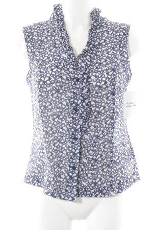 Luisa Cerano Rüschen-Bluse dunkelblau-weiß grafisches Muster Casual-Look