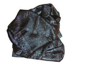 Luisa Cerano Schal Tuch Viskose Wolle metallische Fasern schwarz silber neu