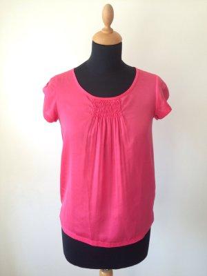 Luisa Cerano Shirt Bluse Top hinten Jersey vorne glänzend pink